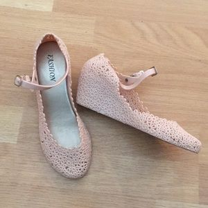 Fashion Baby Pink Jelly Mary Jane Wedge Heels 8